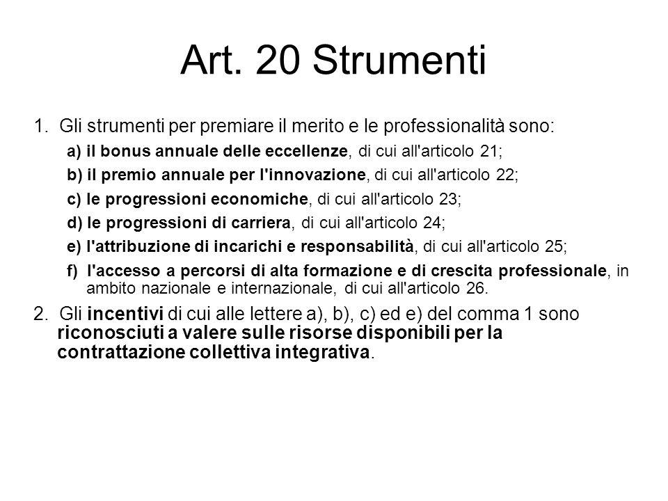 Art. 20 Strumenti 1. Gli strumenti per premiare il merito e le professionalità sono: a) il bonus annuale delle eccellenze, di cui all'articolo 21; b)