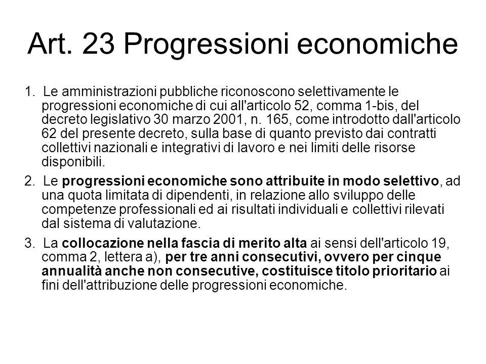 Art. 23 Progressioni economiche 1. Le amministrazioni pubbliche riconoscono selettivamente le progressioni economiche di cui all'articolo 52, comma 1-