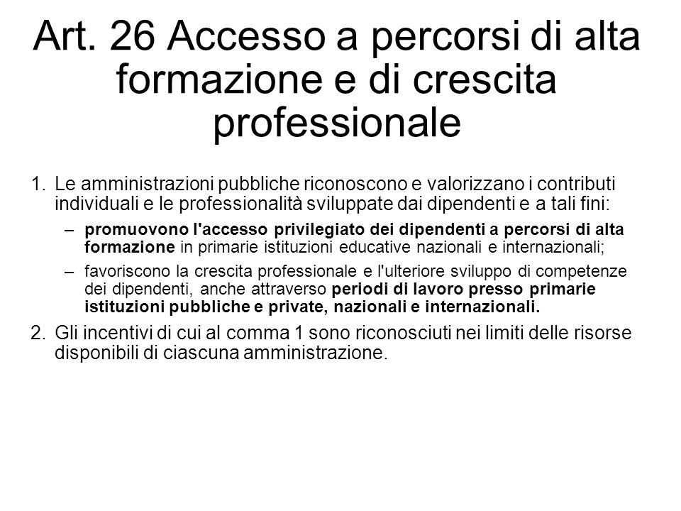 Art. 26 Accesso a percorsi di alta formazione e di crescita professionale 1.Le amministrazioni pubbliche riconoscono e valorizzano i contributi indivi
