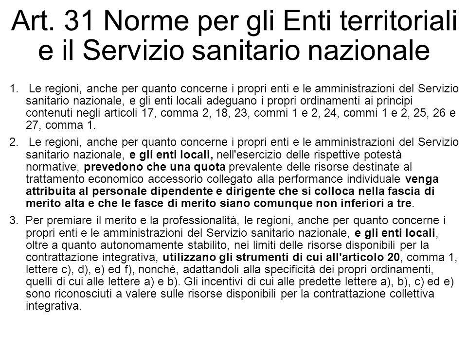 Art. 31 Norme per gli Enti territoriali e il Servizio sanitario nazionale 1. Le regioni, anche per quanto concerne i propri enti e le amministrazioni