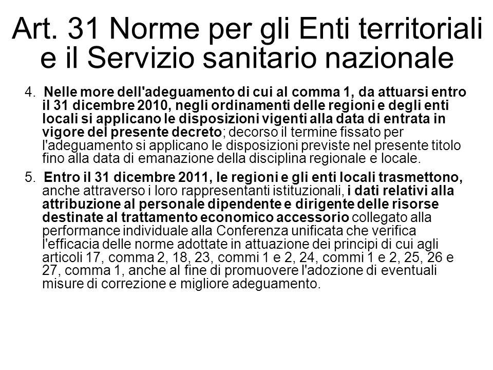 Art. 31 Norme per gli Enti territoriali e il Servizio sanitario nazionale 4. Nelle more dell'adeguamento di cui al comma 1, da attuarsi entro il 31 di