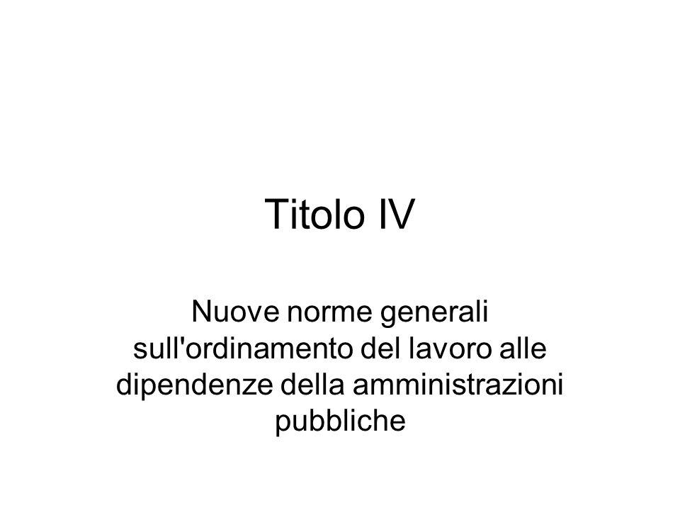 Titolo IV Nuove norme generali sull'ordinamento del lavoro alle dipendenze della amministrazioni pubbliche