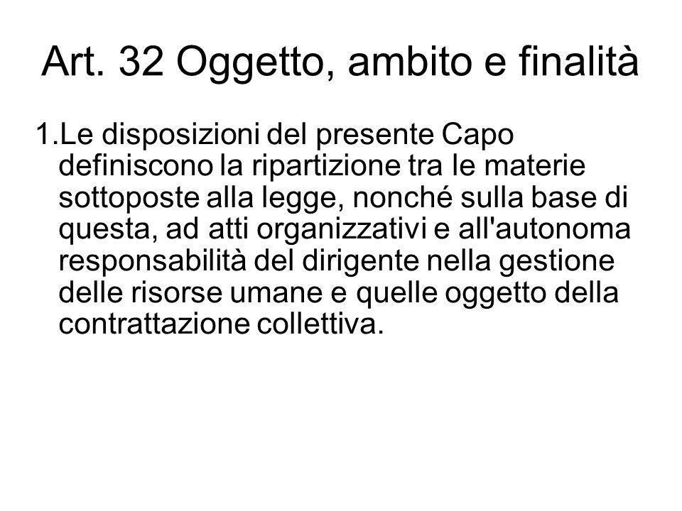 Art. 32 Oggetto, ambito e finalità 1.Le disposizioni del presente Capo definiscono la ripartizione tra le materie sottoposte alla legge, nonché sulla