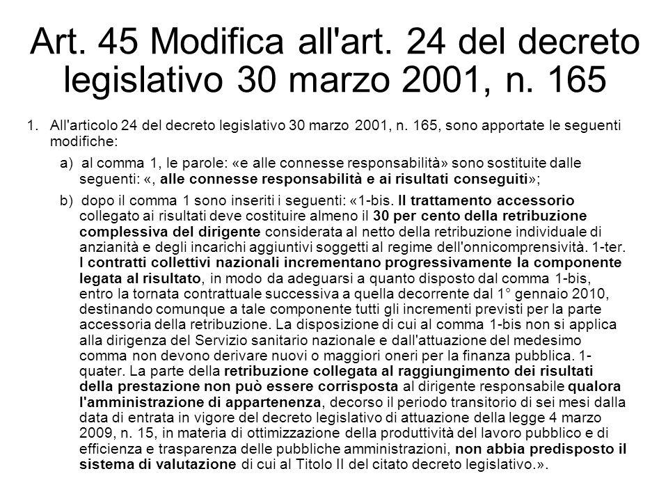 Art. 45 Modifica all'art. 24 del decreto legislativo 30 marzo 2001, n. 165 1.All'articolo 24 del decreto legislativo 30 marzo 2001, n. 165, sono appor