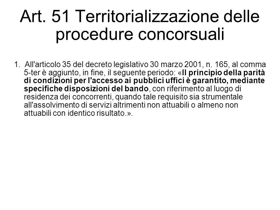 Art. 51 Territorializzazione delle procedure concorsuali 1. All'articolo 35 del decreto legislativo 30 marzo 2001, n. 165, al comma 5-ter è aggiunto,