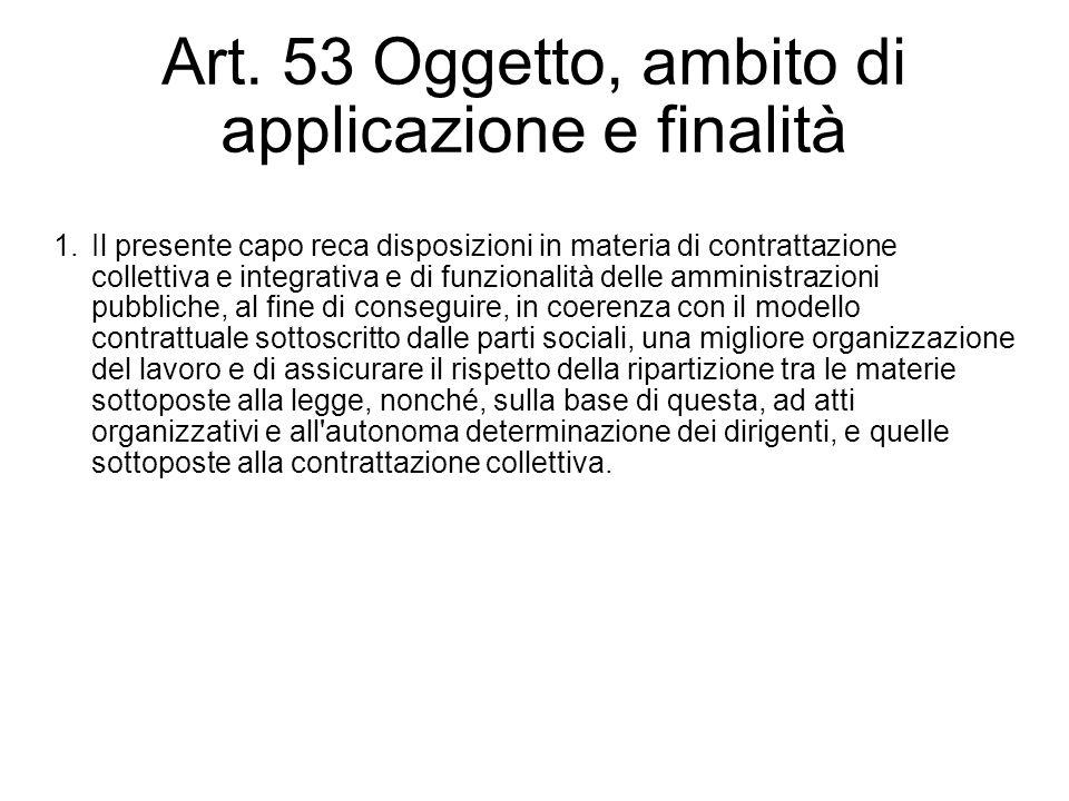 Art. 53 Oggetto, ambito di applicazione e finalità 1.Il presente capo reca disposizioni in materia di contrattazione collettiva e integrativa e di fun