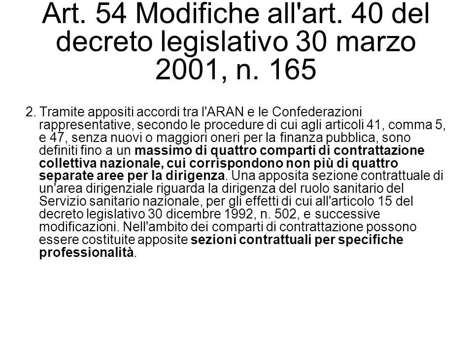 Art. 54 Modifiche all'art. 40 del decreto legislativo 30 marzo 2001, n. 165 2. Tramite appositi accordi tra l'ARAN e le Confederazioni rappresentative