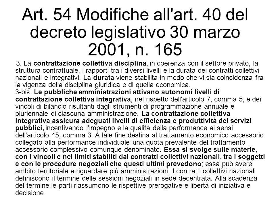 Art. 54 Modifiche all'art. 40 del decreto legislativo 30 marzo 2001, n. 165 3. La contrattazione collettiva disciplina, in coerenza con il settore pri