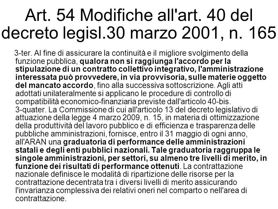 Art. 54 Modifiche all'art. 40 del decreto legisl.30 marzo 2001, n. 165 3-ter. Al fine di assicurare la continuità e il migliore svolgimento della funz