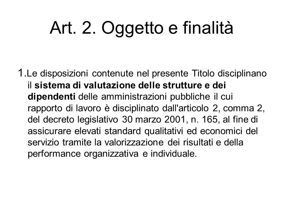 Art. 2. Oggetto e finalità 1. Le disposizioni contenute nel presente Titolo disciplinano il sistema di valutazione delle strutture e dei dipendenti de