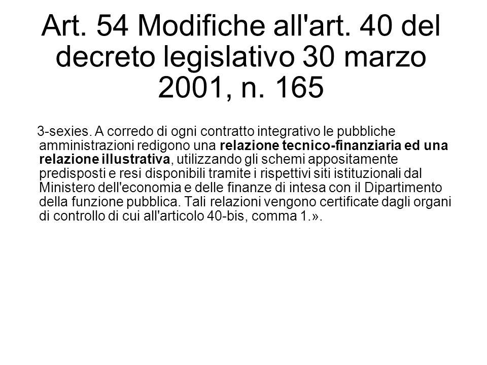 Art. 54 Modifiche all'art. 40 del decreto legislativo 30 marzo 2001, n. 165 3-sexies. A corredo di ogni contratto integrativo le pubbliche amministraz