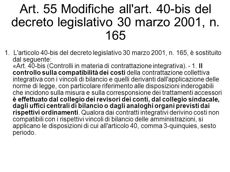 Art. 55 Modifiche all'art. 40-bis del decreto legislativo 30 marzo 2001, n. 165 1. L'articolo 40-bis del decreto legislativo 30 marzo 2001, n. 165, è