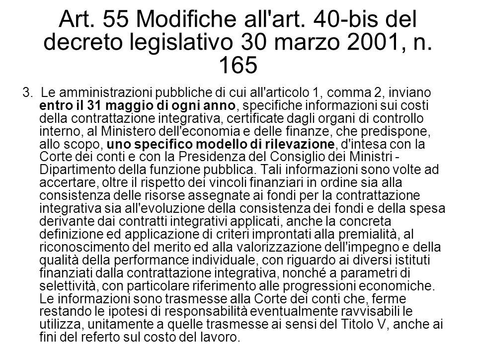 Art. 55 Modifiche all'art. 40-bis del decreto legislativo 30 marzo 2001, n. 165 3. Le amministrazioni pubbliche di cui all'articolo 1, comma 2, invian