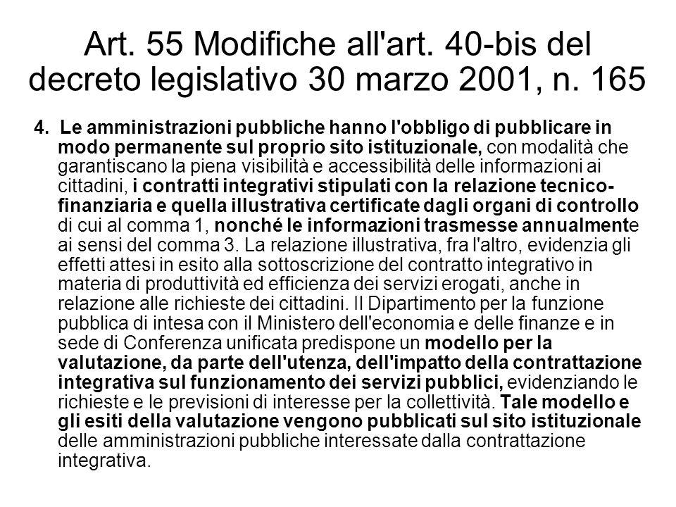 Art. 55 Modifiche all'art. 40-bis del decreto legislativo 30 marzo 2001, n. 165 4. Le amministrazioni pubbliche hanno l'obbligo di pubblicare in modo