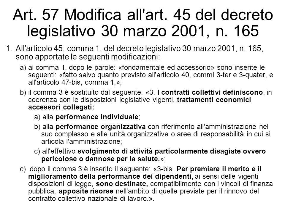 Art. 57 Modifica all'art. 45 del decreto legislativo 30 marzo 2001, n. 165 1.All'articolo 45, comma 1, del decreto legislativo 30 marzo 2001, n. 165,