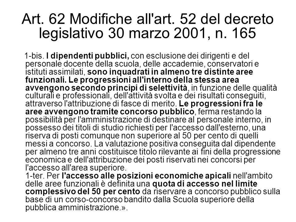 Art. 62 Modifiche all'art. 52 del decreto legislativo 30 marzo 2001, n. 165 1-bis. I dipendenti pubblici, con esclusione dei dirigenti e del personale