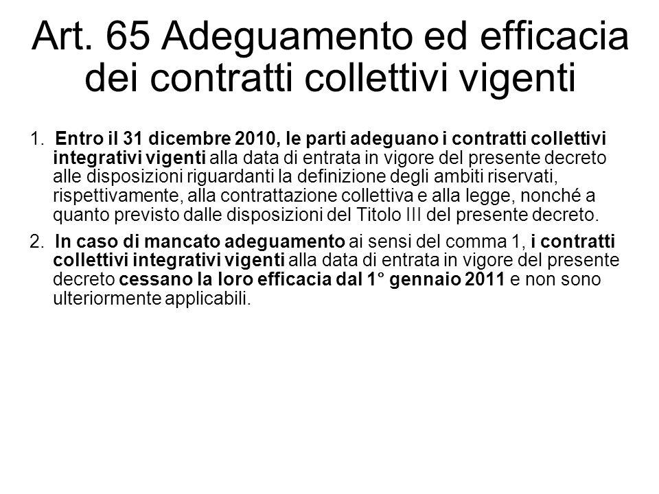 Art. 65 Adeguamento ed efficacia dei contratti collettivi vigenti 1. Entro il 31 dicembre 2010, le parti adeguano i contratti collettivi integrativi v