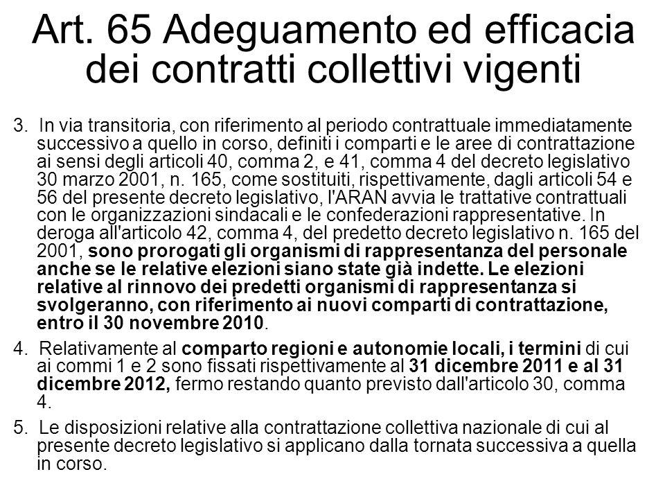 Art. 65 Adeguamento ed efficacia dei contratti collettivi vigenti 3. In via transitoria, con riferimento al periodo contrattuale immediatamente succes