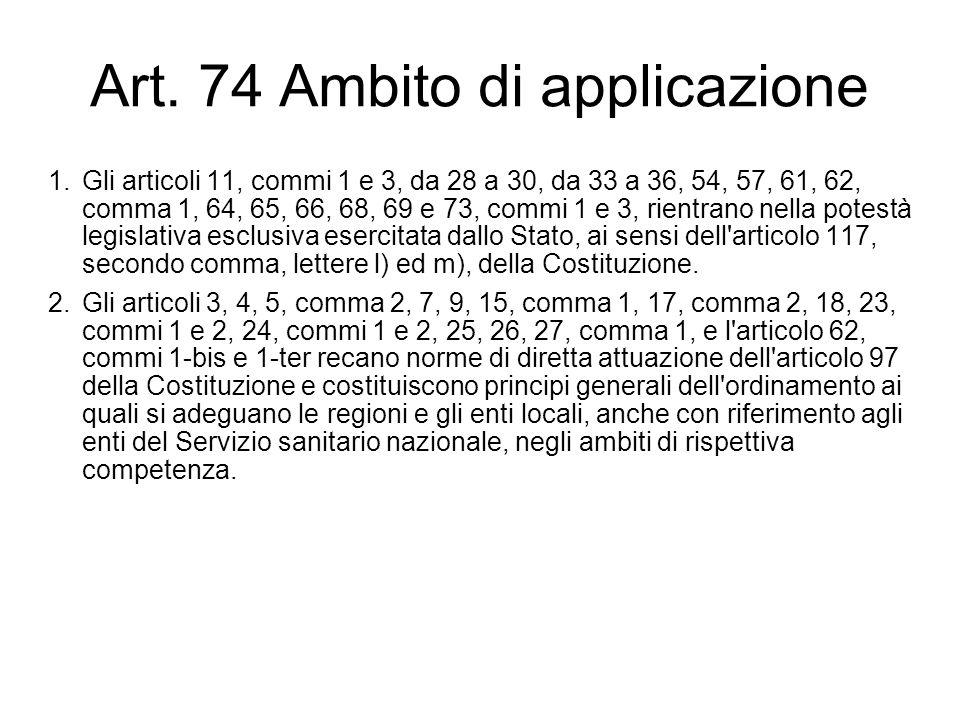 Art. 74 Ambito di applicazione 1.Gli articoli 11, commi 1 e 3, da 28 a 30, da 33 a 36, 54, 57, 61, 62, comma 1, 64, 65, 66, 68, 69 e 73, commi 1 e 3,