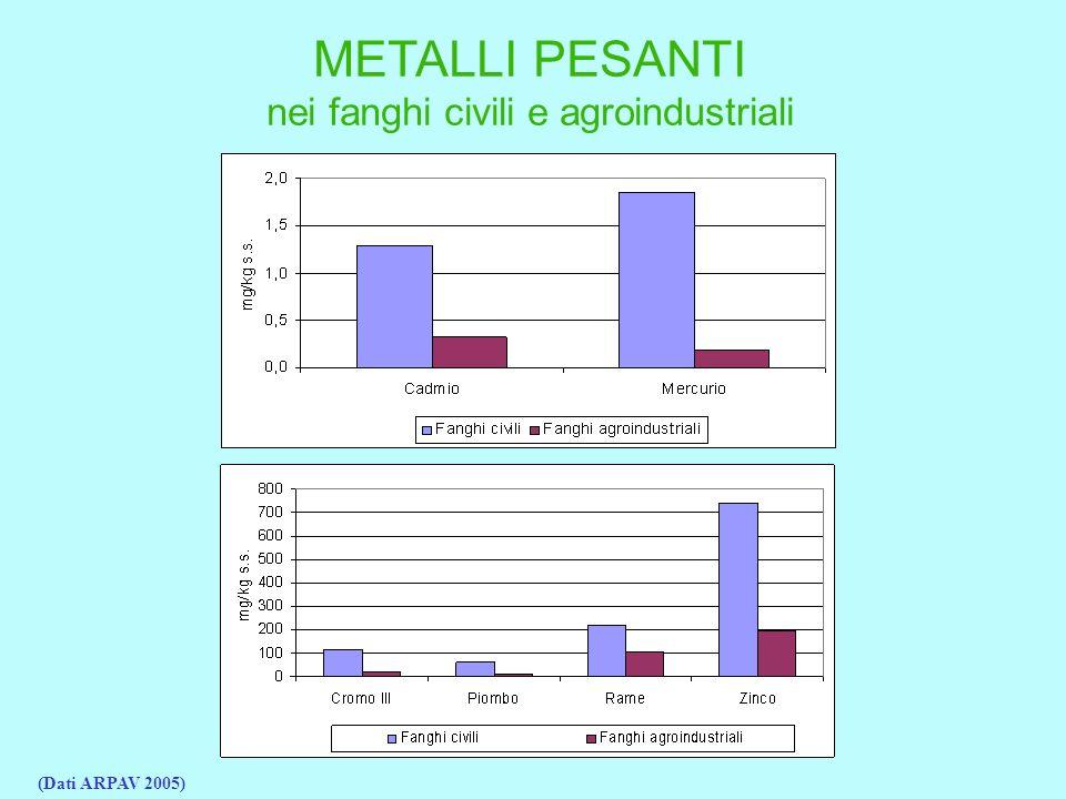 METALLI PESANTI nei fanghi civili e agroindustriali (Dati ARPAV 2005)