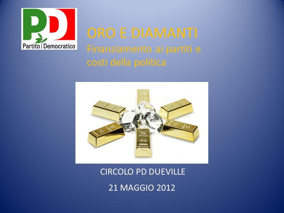 CIRCOLO PD DUEVILLE 21 MAGGIO 2012 ORO E DIAMANTI Finanziamento ai partiti e costi della politica