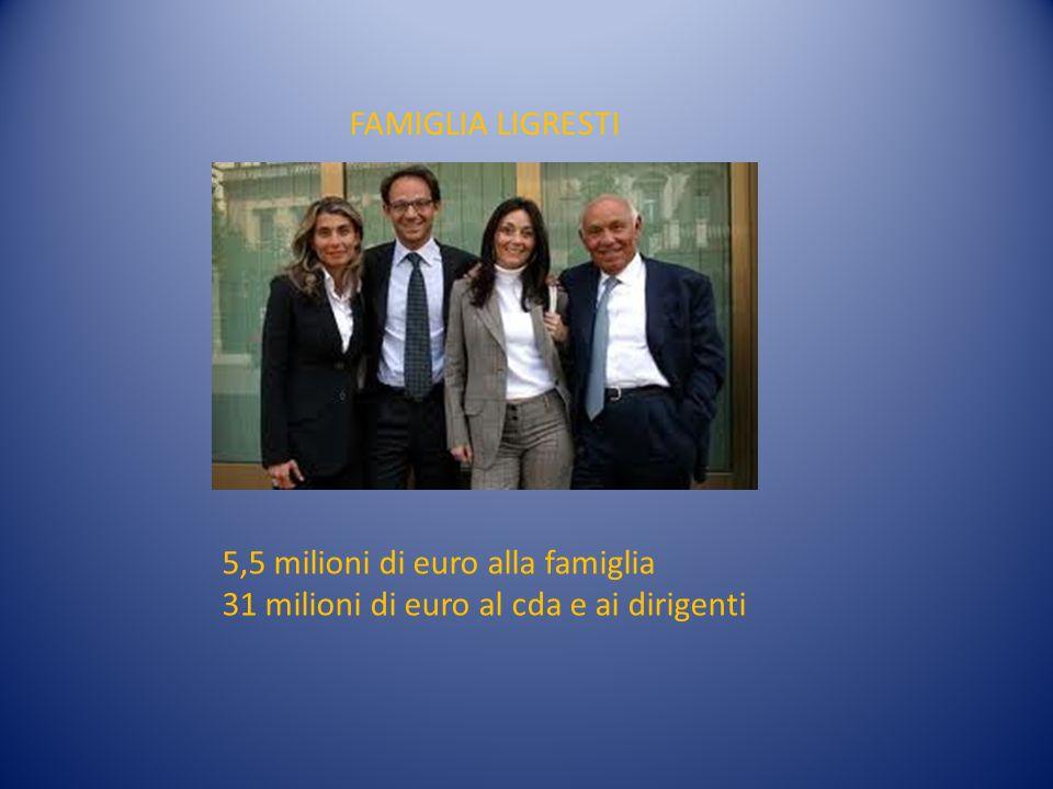 5,5 milioni di euro alla famiglia 31 milioni di euro al cda e ai dirigenti FAMIGLIA LIGRESTI