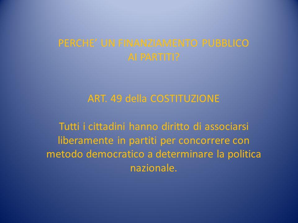 PERCHE UN FINANZIAMENTO PUBBLICO AI PARTITI. ART.
