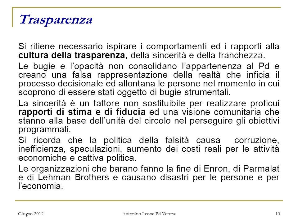 Giugno 2012 Antonino Leone Pd Verona 13 Trasparenza Si ritiene necessario ispirare i comportamenti ed i rapporti alla cultura della trasparenza, della sincerità e della franchezza.