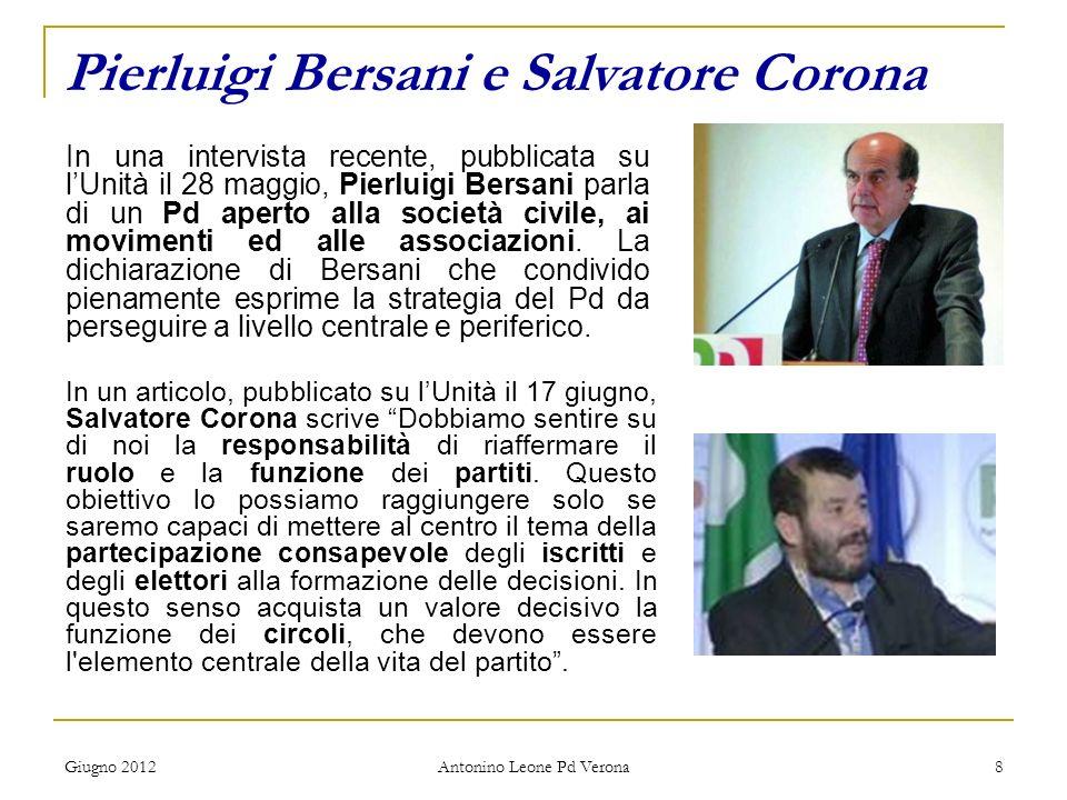 Giugno 2012 Antonino Leone Pd Verona 8 Pierluigi Bersani e Salvatore Corona In una intervista recente, pubblicata su lUnità il 28 maggio, Pierluigi Be