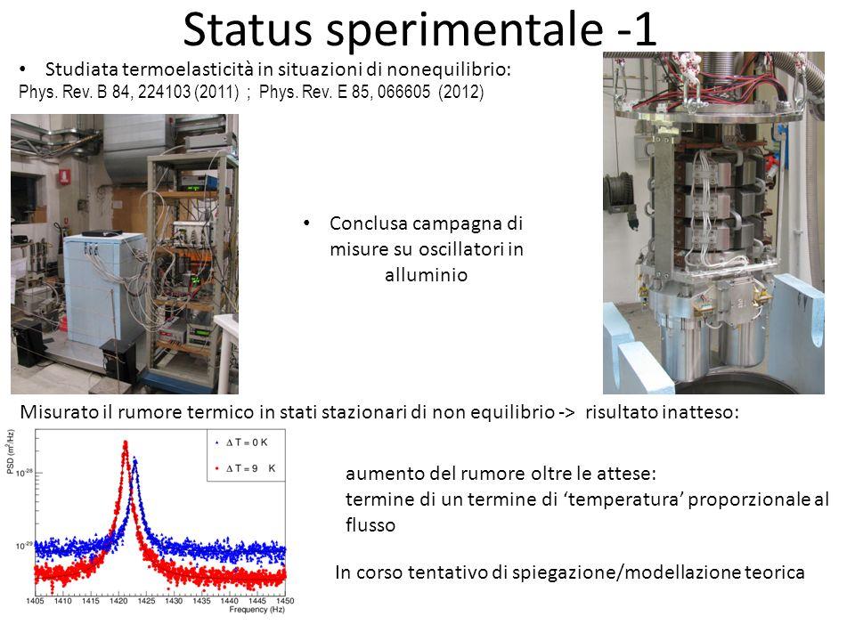 Status sperimentale -1 Misurato il rumore termico in stati stazionari di non equilibrio -> risultato inatteso: aumento del rumore oltre le attese: ter