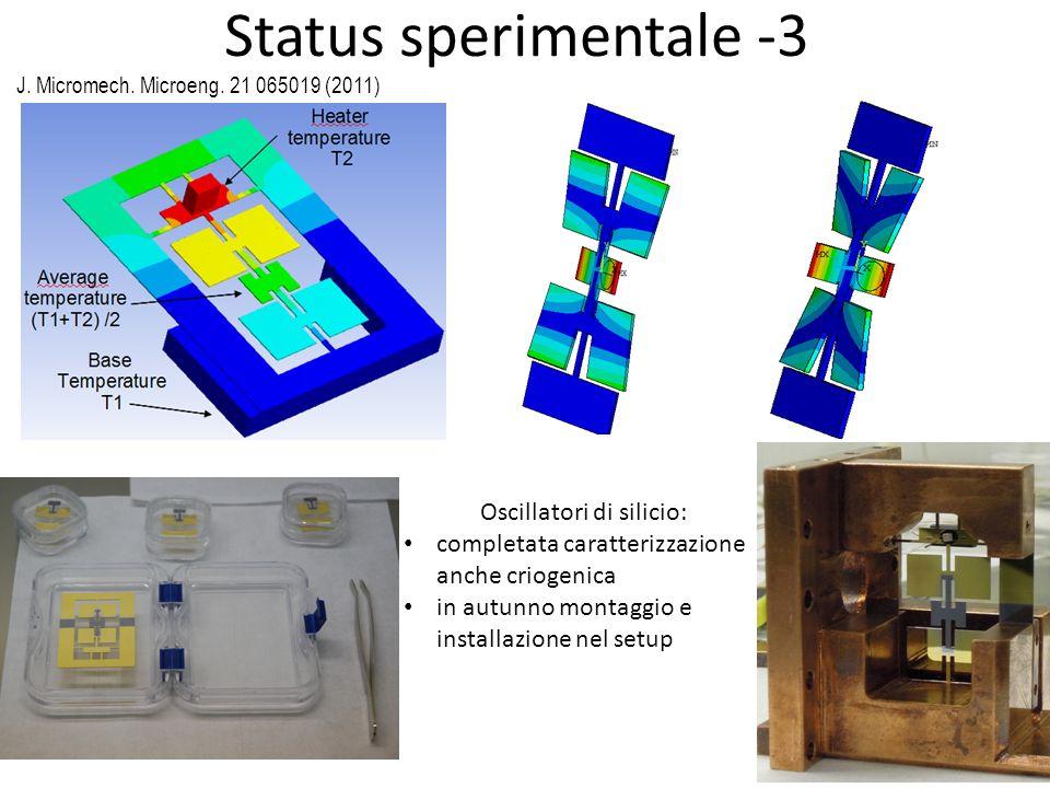 Status sperimentale -3 Oscillatori di silicio: completata caratterizzazione anche criogenica in autunno montaggio e installazione nel setup J. Microme