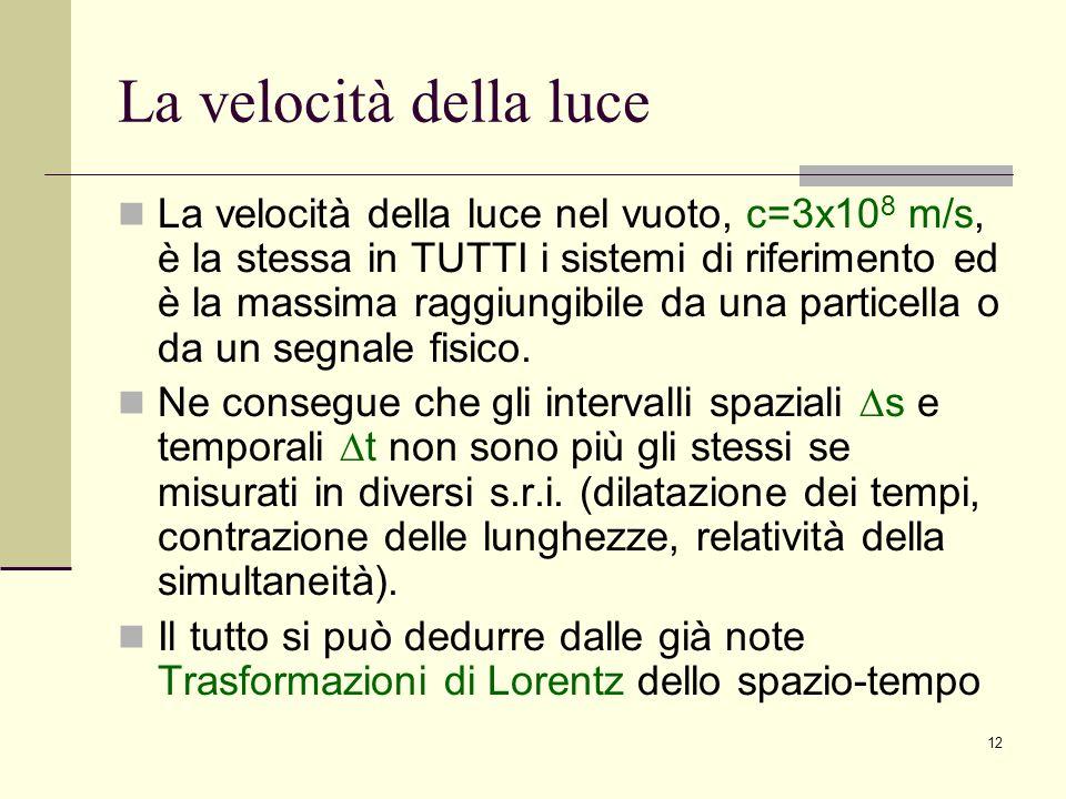 12 La velocità della luce La velocità della luce nel vuoto, c=3x10 8 m/s, è la stessa in TUTTI i sistemi di riferimento ed è la massima raggiungibile