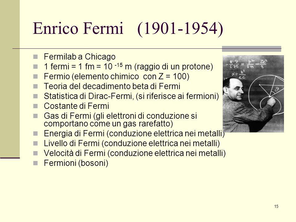 15 Enrico Fermi (1901-1954) Fermilab a Chicago 1 fermi = 1 fm = 10 -15 m (raggio di un protone) Fermio (elemento chimico con Z = 100) Teoria del decad