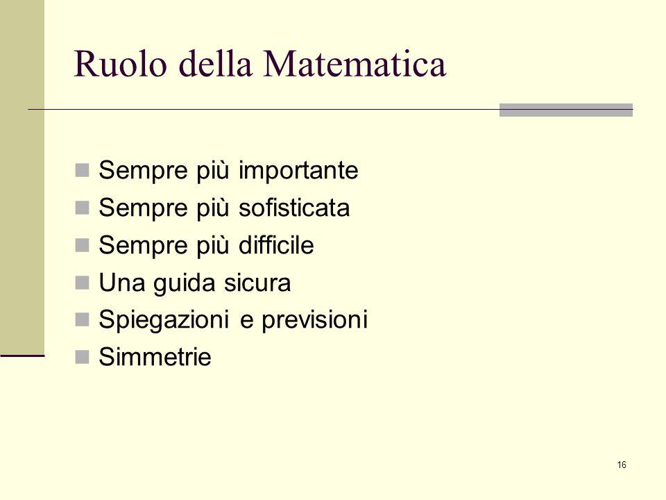 16 Ruolo della Matematica Sempre più importante Sempre più sofisticata Sempre più difficile Una guida sicura Spiegazioni e previsioni Simmetrie