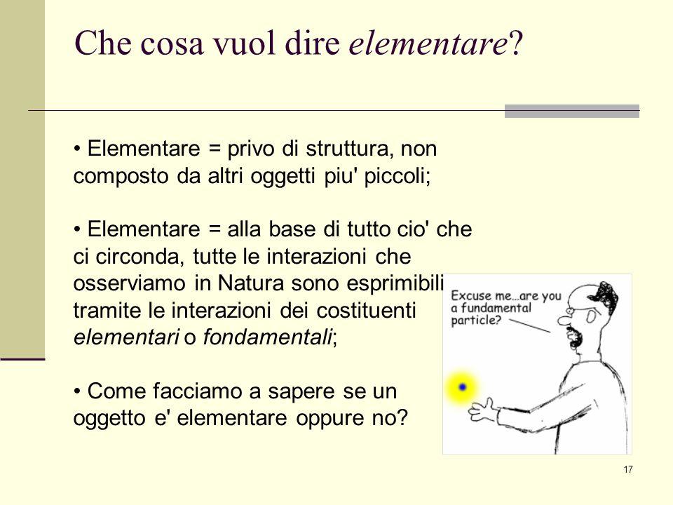 17 Che cosa vuol dire elementare? Elementare = privo di struttura, non composto da altri oggetti piu' piccoli; Elementare = alla base di tutto cio' ch