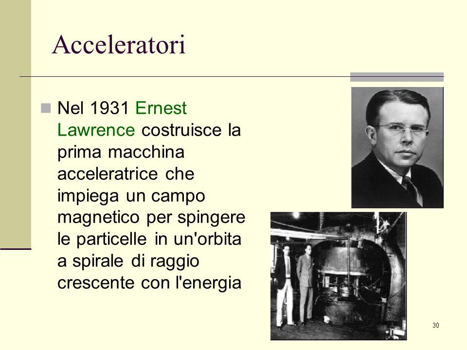 30 Acceleratori Nel 1931 Ernest Lawrence costruisce la prima macchina acceleratrice che impiega un campo magnetico per spingere le particelle in un'or