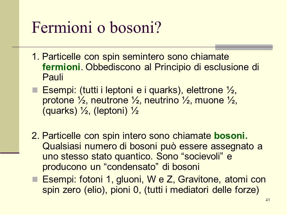 41 Fermioni o bosoni? 1. Particelle con spin semintero sono chiamate fermioni. Obbediscono al Principio di esclusione di Pauli Esempi: (tutti i lepton