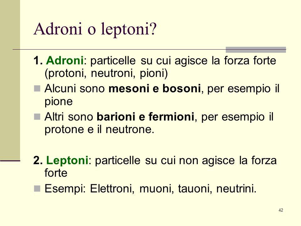 42 Adroni o leptoni? 1. Adroni: particelle su cui agisce la forza forte (protoni, neutroni, pioni) Alcuni sono mesoni e bosoni, per esempio il pione A