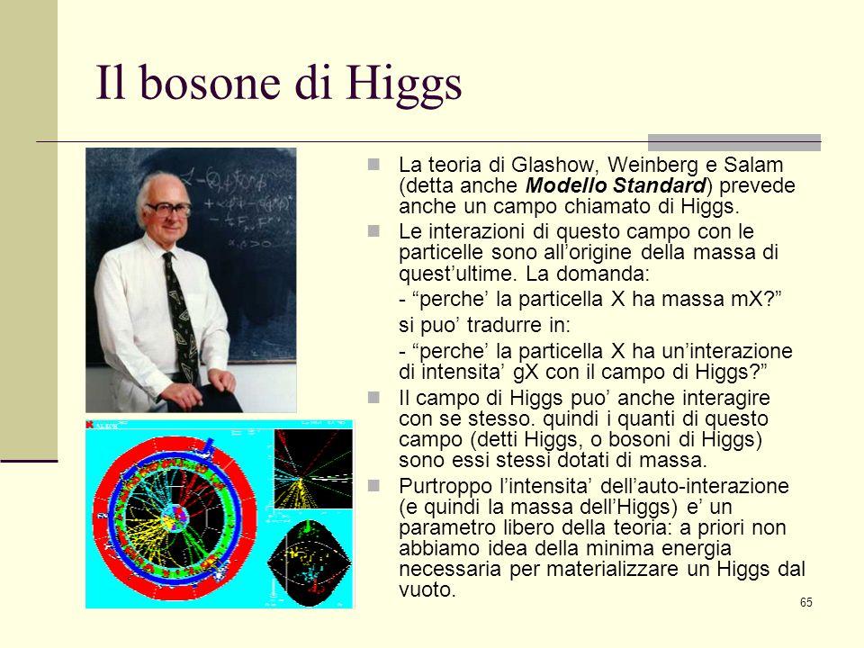 65 Il bosone di Higgs La teoria di Glashow, Weinberg e Salam (detta anche Modello Standard) prevede anche un campo chiamato di Higgs. Le interazioni d