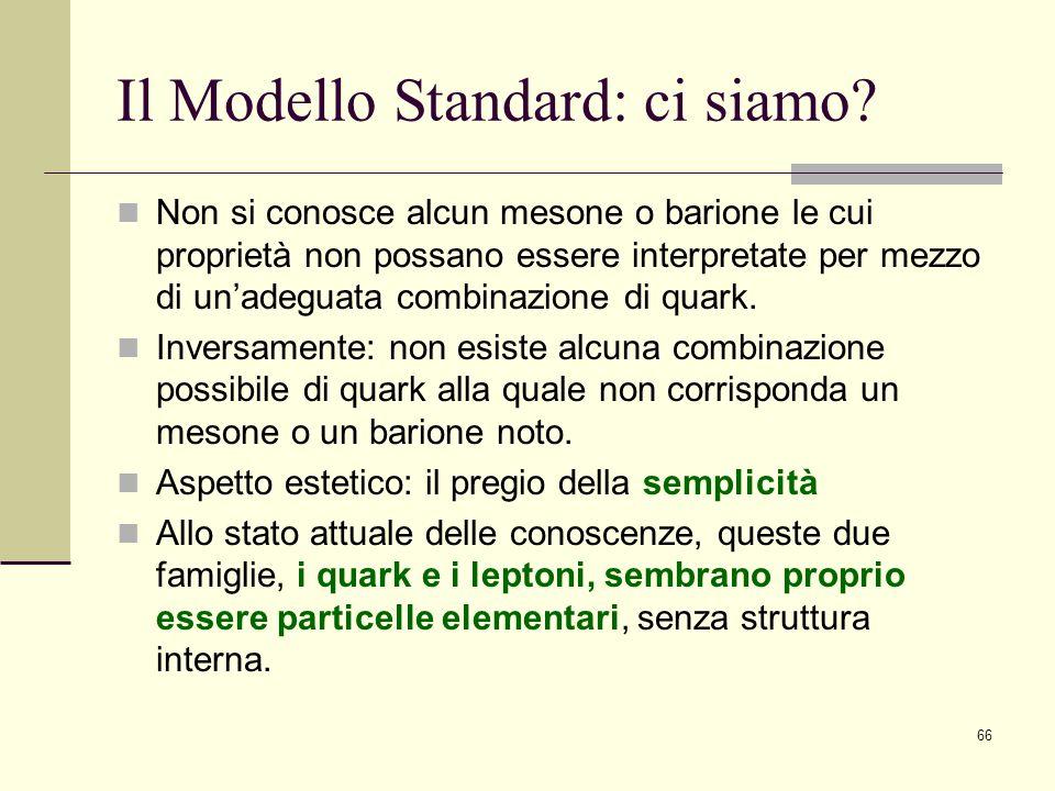 66 Il Modello Standard: ci siamo? Non si conosce alcun mesone o barione le cui proprietà non possano essere interpretate per mezzo di unadeguata combi