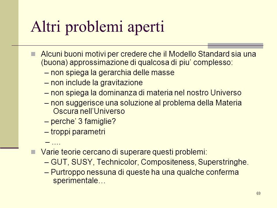 69 Altri problemi aperti Alcuni buoni motivi per credere che il Modello Standard sia una (buona) approssimazione di qualcosa di piu complesso: – non s