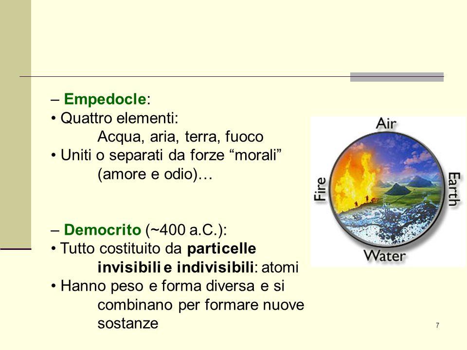 7 – Empedocle: Quattro elementi: Acqua, aria, terra, fuoco Uniti o separati da forze morali (amore e odio)… – Democrito (~400 a.C.): Tutto costituito