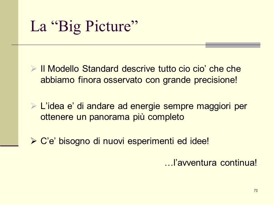 70 La Big Picture Il Modello Standard descrive tutto cio cio che che abbiamo finora osservato con grande precisione! Lidea e di andare ad energie semp