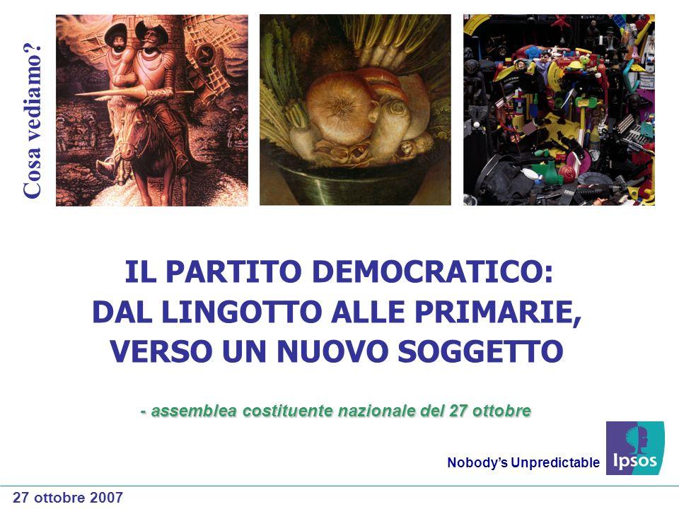 IL PARTITO DEMOCRATICO: DAL LINGOTTO ALLE PRIMARIE, VERSO UN NUOVO SOGGETTO Nobodys Unpredictable 27 ottobre 2007 Cosa vediamo.
