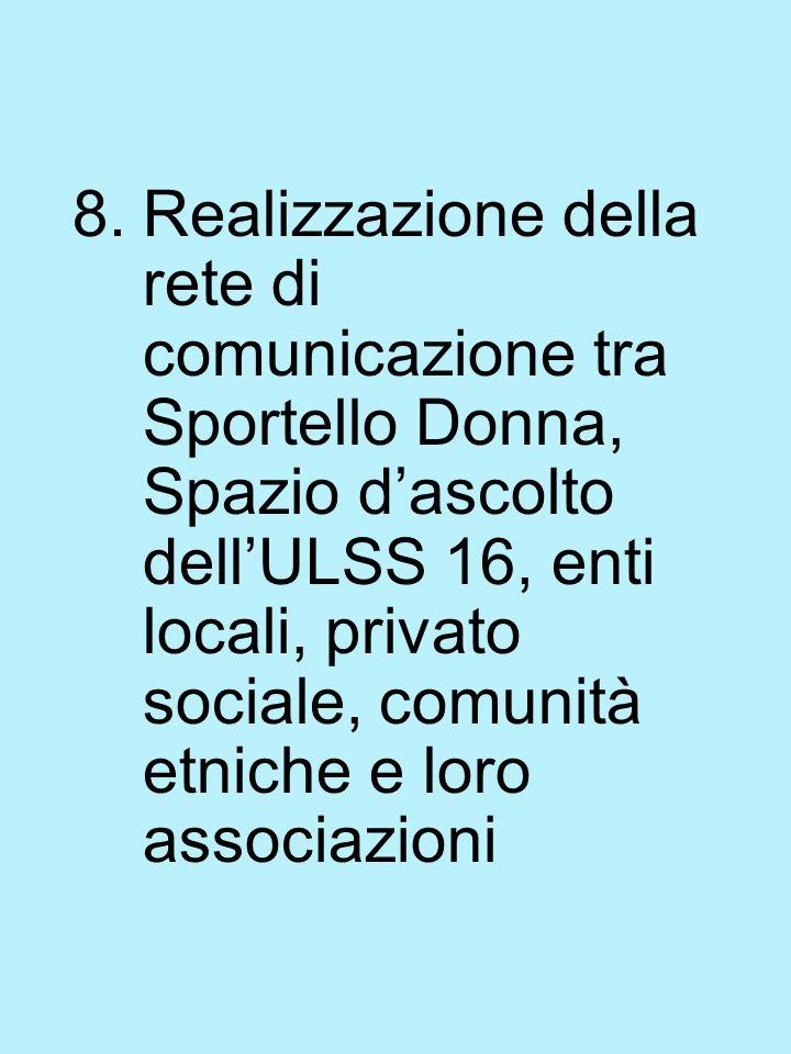 8.Realizzazione della rete di comunicazione tra Sportello Donna, Spazio dascolto dellULSS 16, enti locali, privato sociale, comunità etniche e loro associazioni