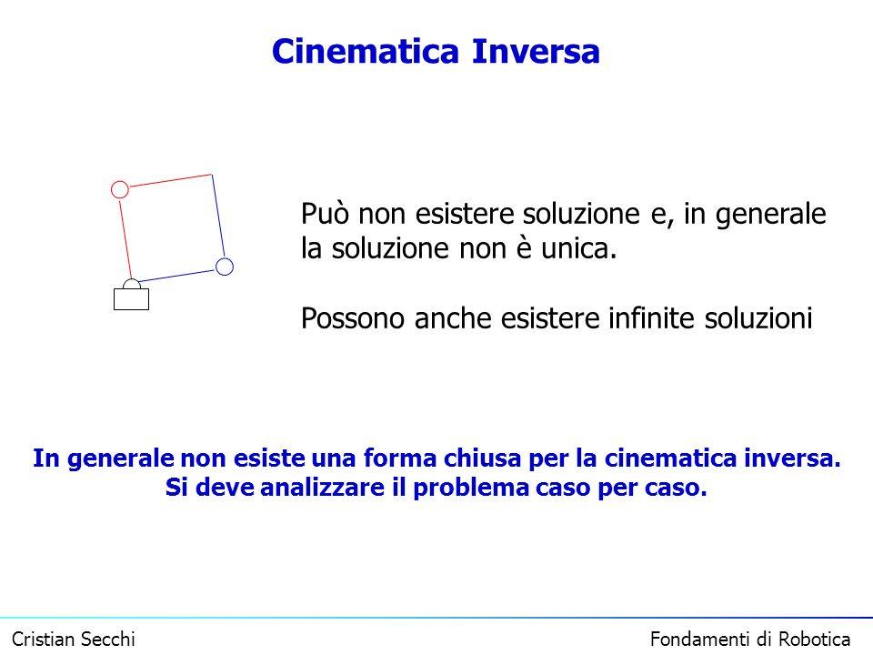 Cristian Secchi Fondamenti di Robotica Cinematica Inversa Può non esistere soluzione e, in generale la soluzione non è unica. Possono anche esistere i