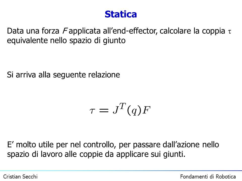 Cristian Secchi Fondamenti di Robotica Statica Data una forza F applicata allend-effector, calcolare la coppia equivalente nello spazio di giunto Si a