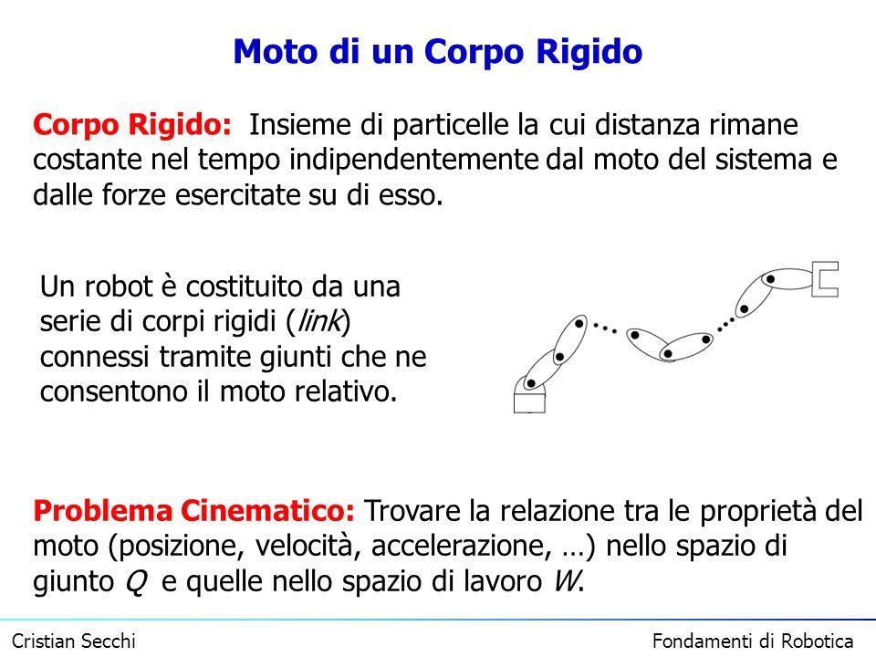 Cristian Secchi Fondamenti di Robotica Moto di un Corpo Rigido Un robot è costituito da una serie di corpi rigidi (link) connessi tramite giunti che n