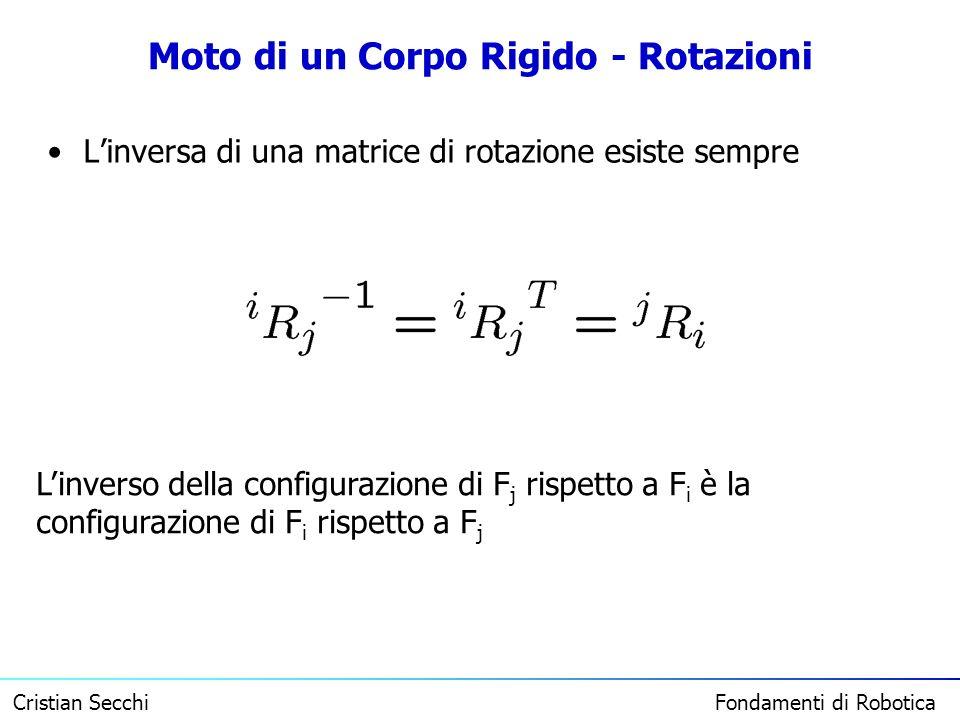 Cristian Secchi Fondamenti di Robotica Moto di un Corpo Rigido - Rotazioni Linversa di una matrice di rotazione esiste sempre Linverso della configura