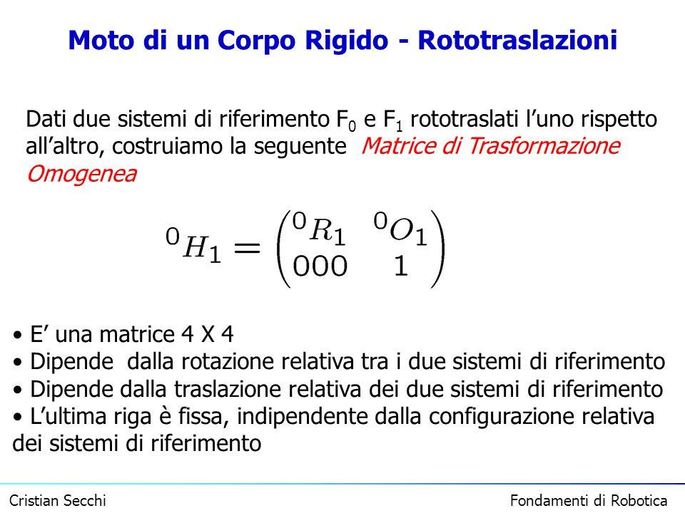 Cristian Secchi Fondamenti di Robotica Moto di un Corpo Rigido - Rototraslazioni Dati due sistemi di riferimento F 0 e F 1 rototraslati luno rispetto